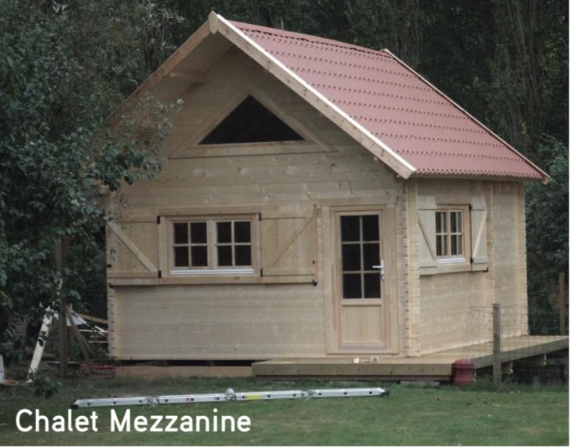 Chalet Mezzanine 19,95 m2 Pas de permis de construire car moins de 20 m2 abri de jardin en bois
