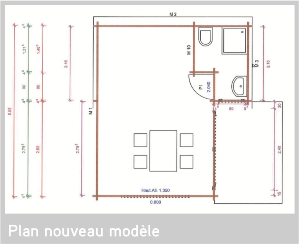 Chalet Mezzanine 19,95 m2 Plan nouveau modèle