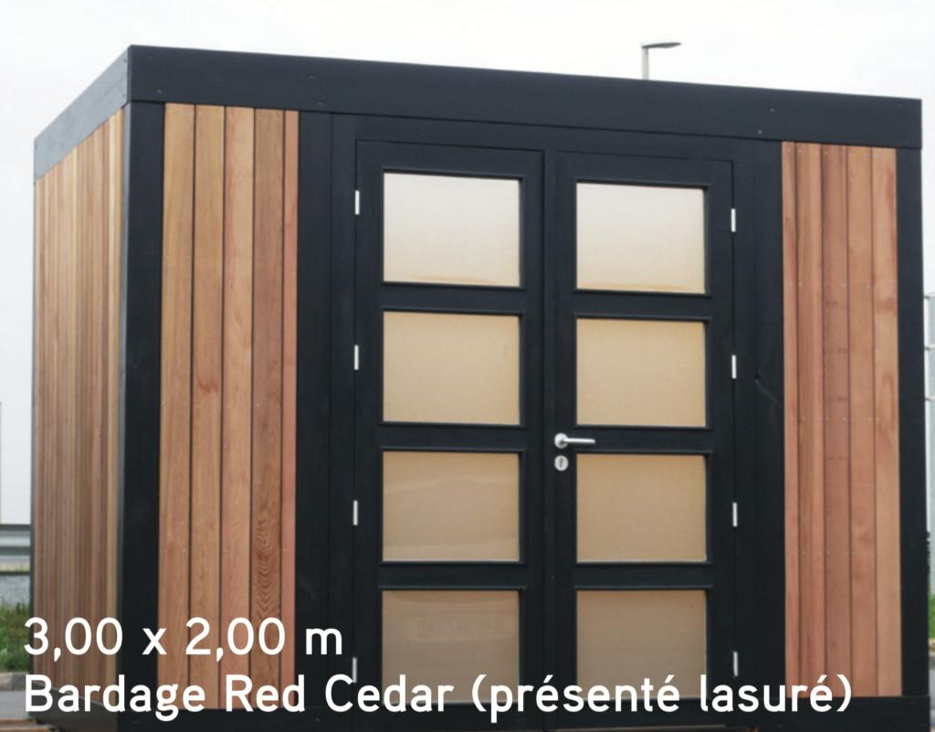 quadro 3,00 x 2,00 m Bardage Red Cedar (présenté lasuré) abris de jardin en bois