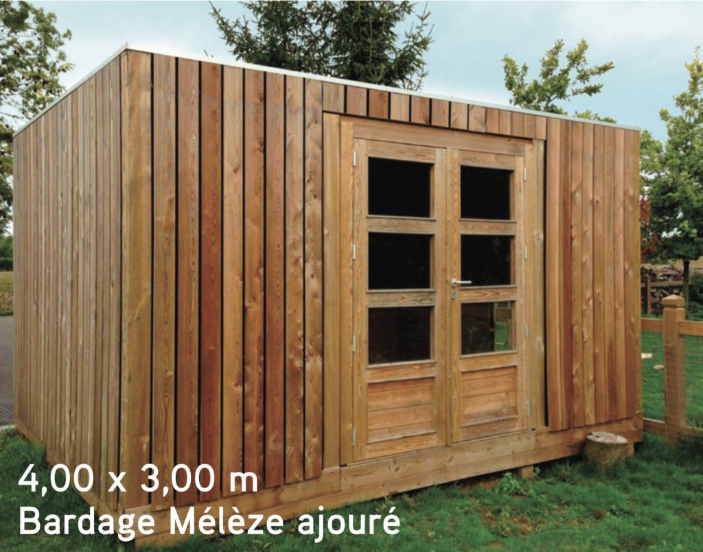 quadro 4,00 x 3,00 m Bardage Mélèze ajouré abris de jardin en bois