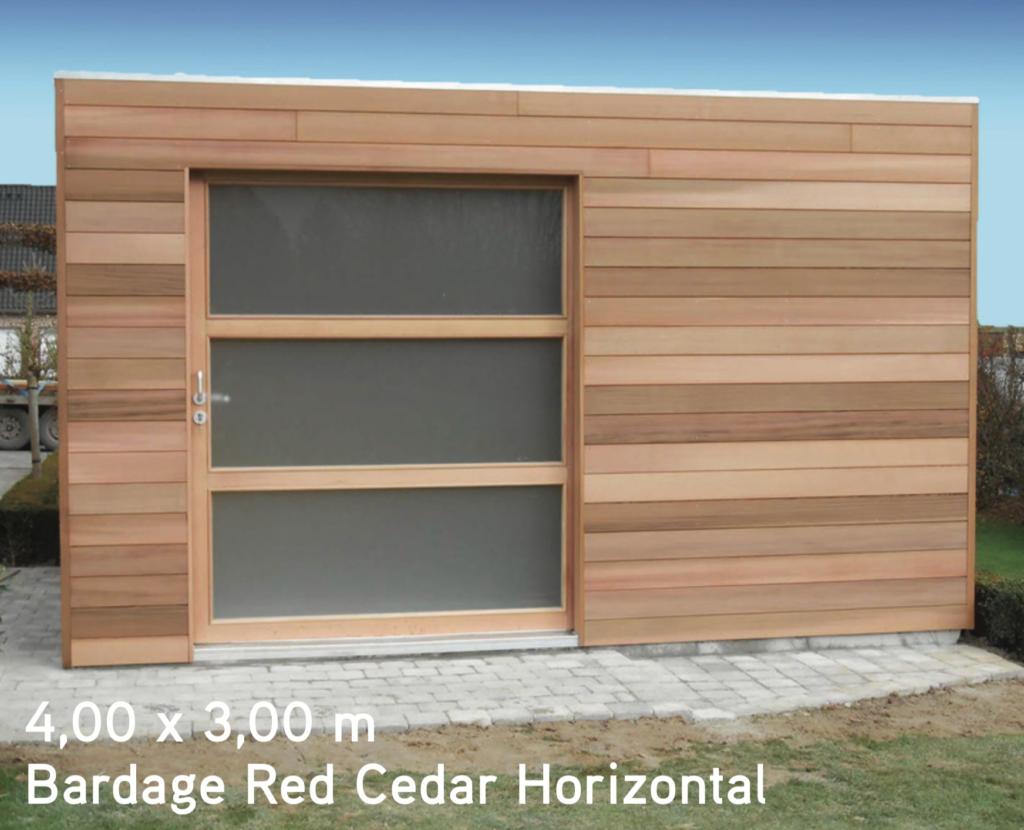 quadro 4,00 x 3,00 m Bardage Red Cedar Horizontal abris de jardin en bois