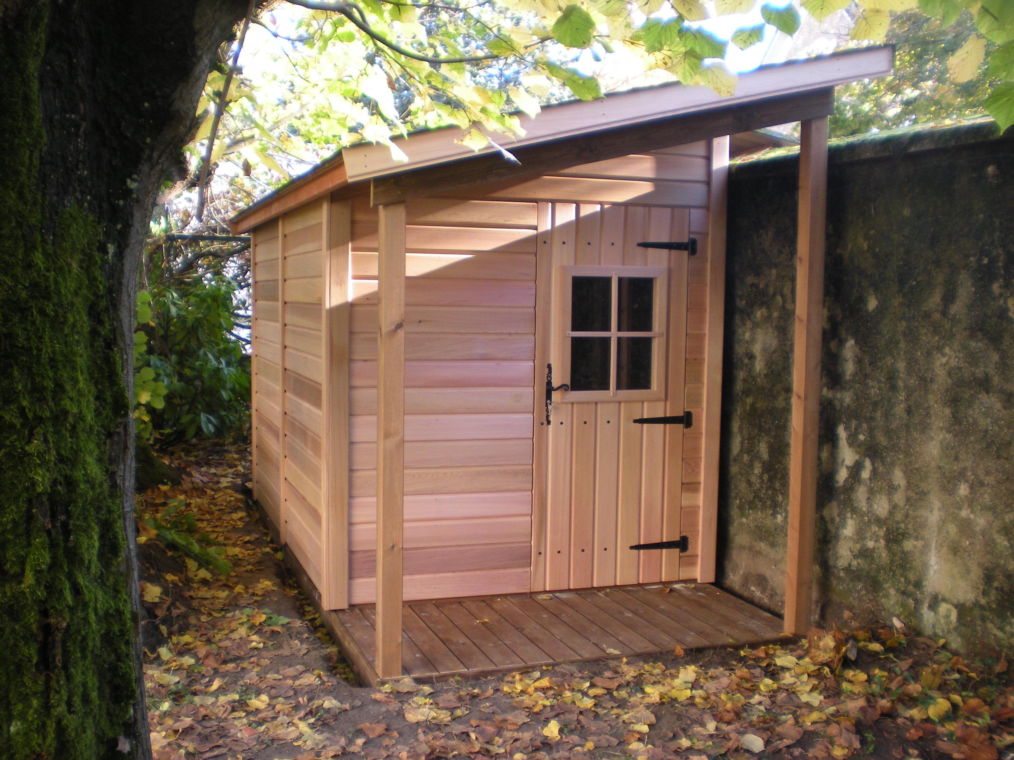 Abri de jardin en bois montfort 2 50mx5 00m a adosser un for Abris de jardins en bois