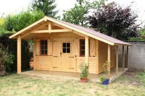 abri de jardin en bois milly avec b cher et auvent cerisier abris de jardin en bois. Black Bedroom Furniture Sets. Home Design Ideas