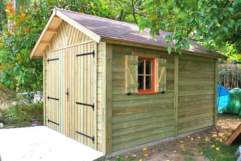 Garage bois anjou 3 m x 5 m avec double porte gamme for Largeur garage double
