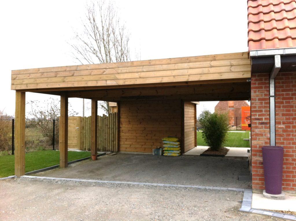 vente abris de voiture et carport toit plat en bois. Black Bedroom Furniture Sets. Home Design Ideas