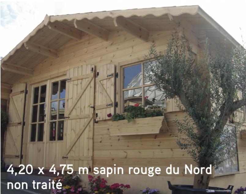 Courchevel 4,20 x 4,75 m sapin rouge du Nord non traité abri de jardin en bois