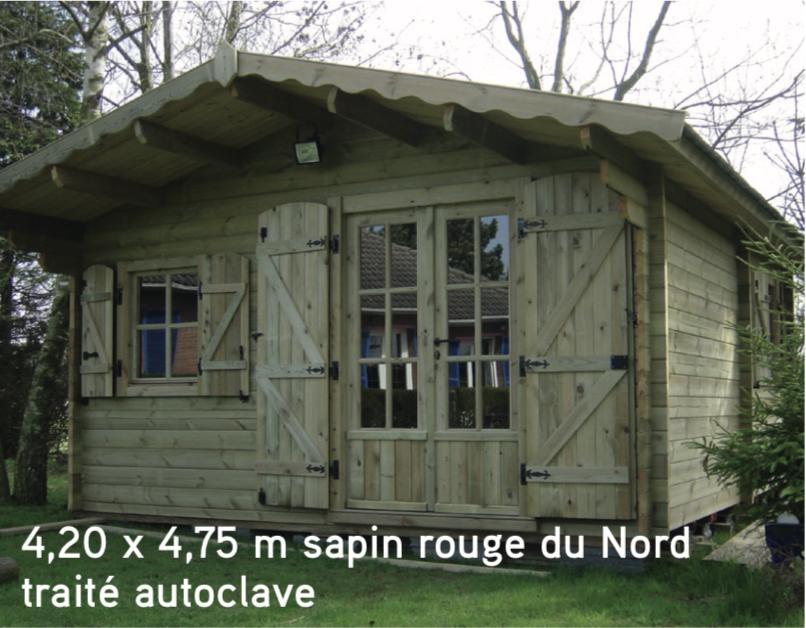 Courchevel 4,20 x 4,75 m sapin rouge du Nord traité autoclave abri de jardin en bois