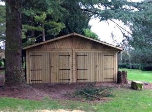 GARAGE BOIS NORMANDIE 6,00 M X 6,00 M avec double porte