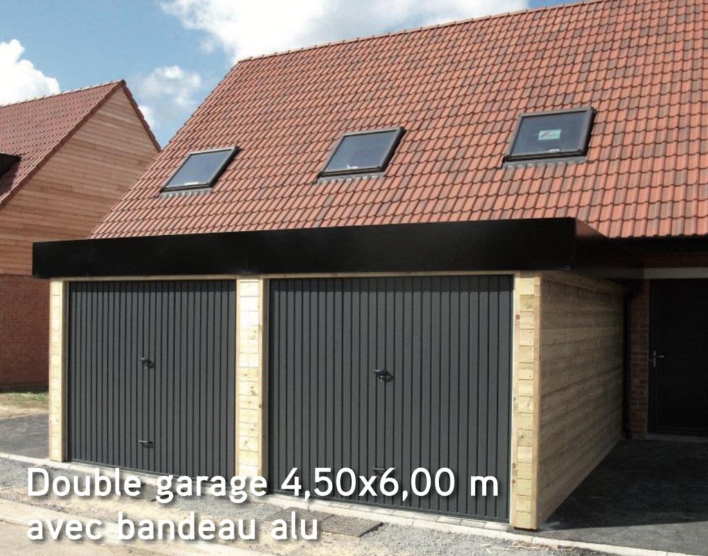 Garage Double garage 4,50×6,00 m avec bandeau alu