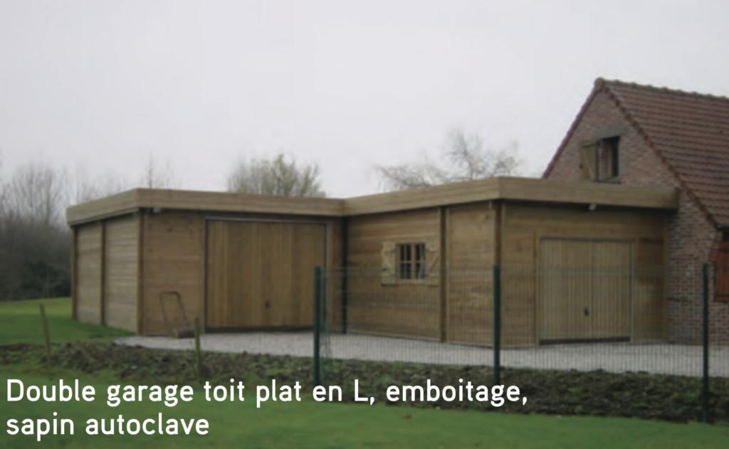 Garage Double garage toit plat en L, emboitage, sapin autoclave