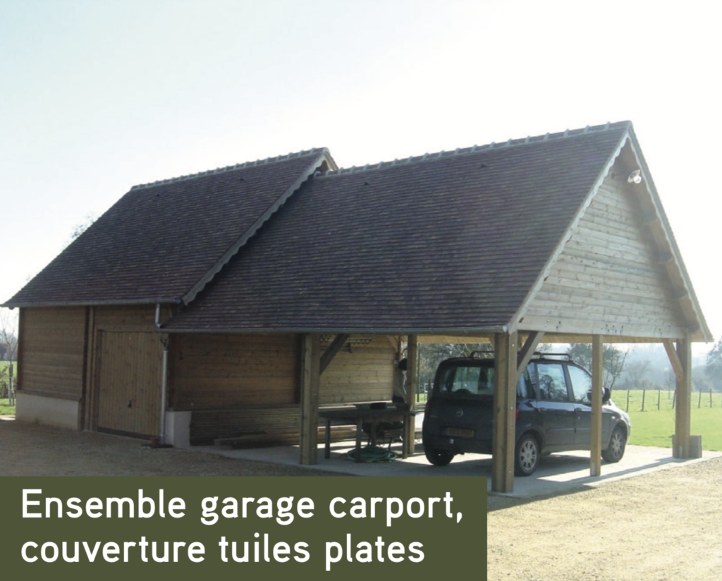 Garage Ensemble garage carport, couverture tuiles plates