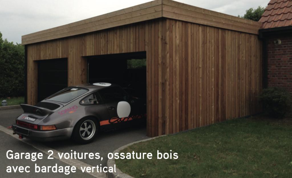 Garage Garage 2 voitures, ossature bois avec bardage vertical