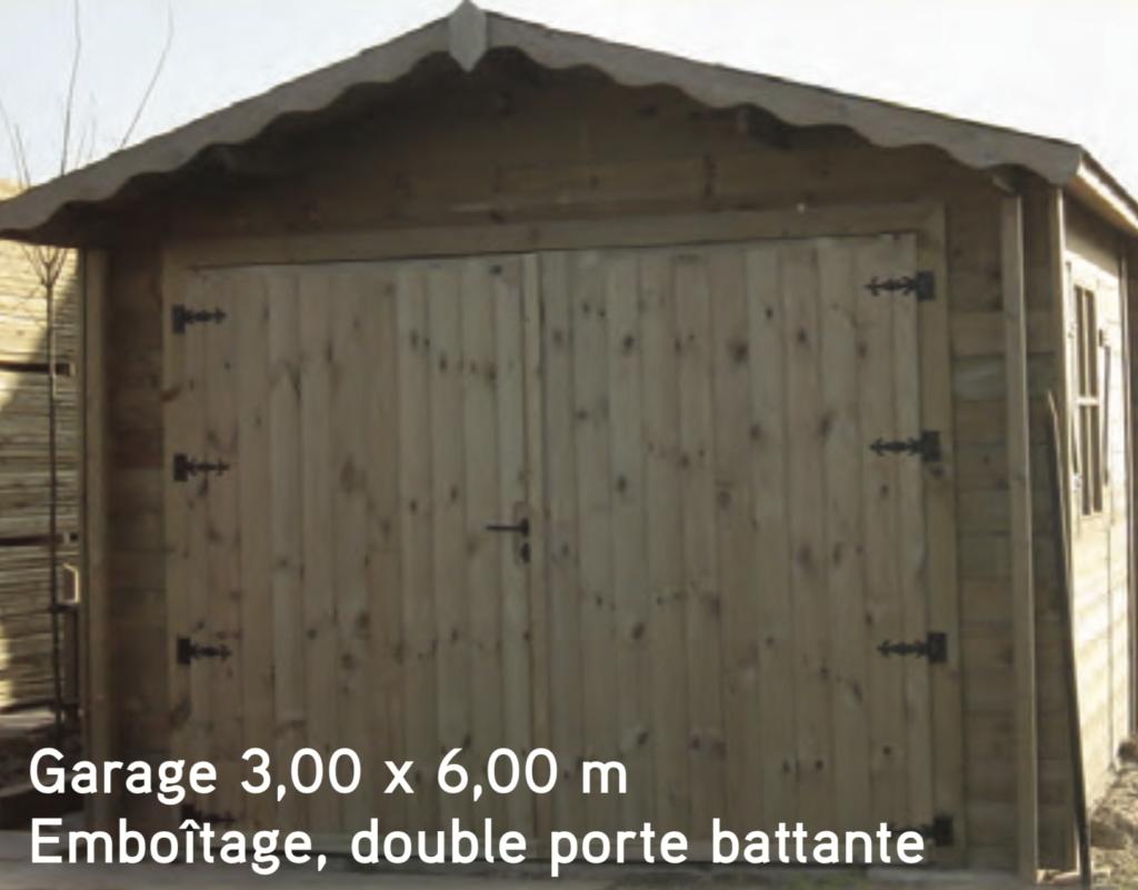 Garage Garage 3,00 x 6,00 m Emboîtage, double porte battante