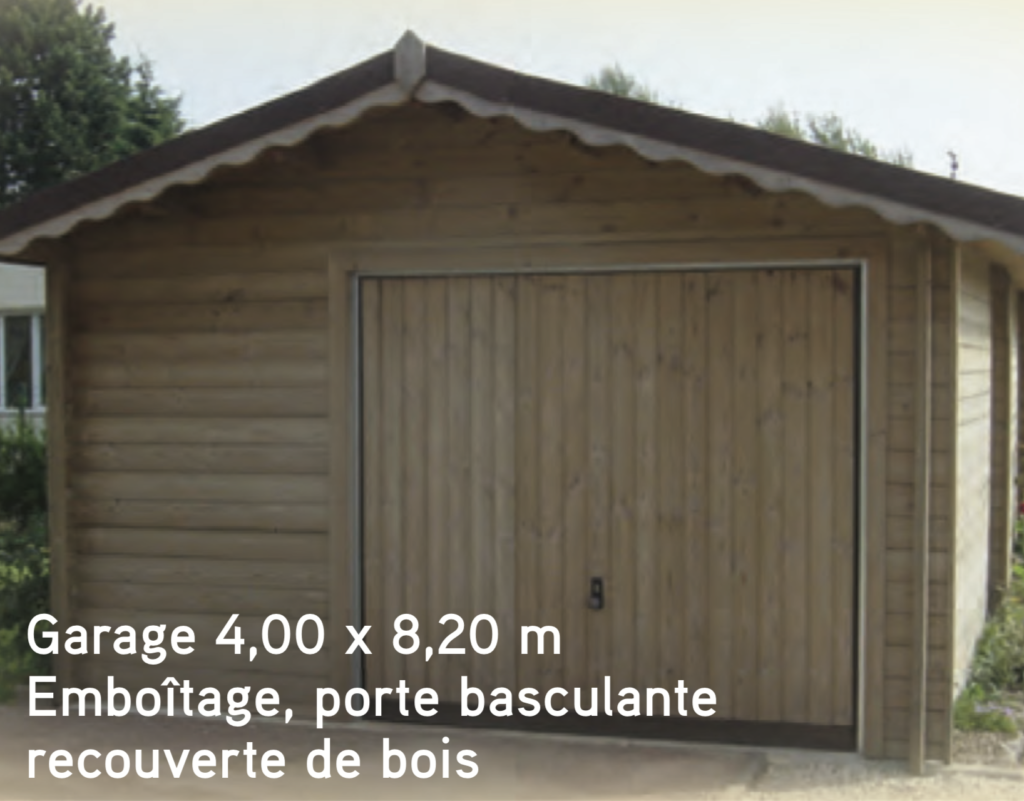 Garage Garage 4,00 x 8,20 m Emboîtage, porte basculante recouverte de bois