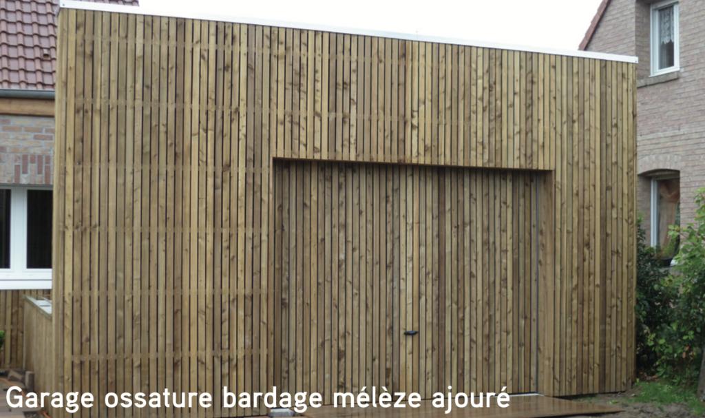 Garage Garage ossature bardage mélèze ajouré