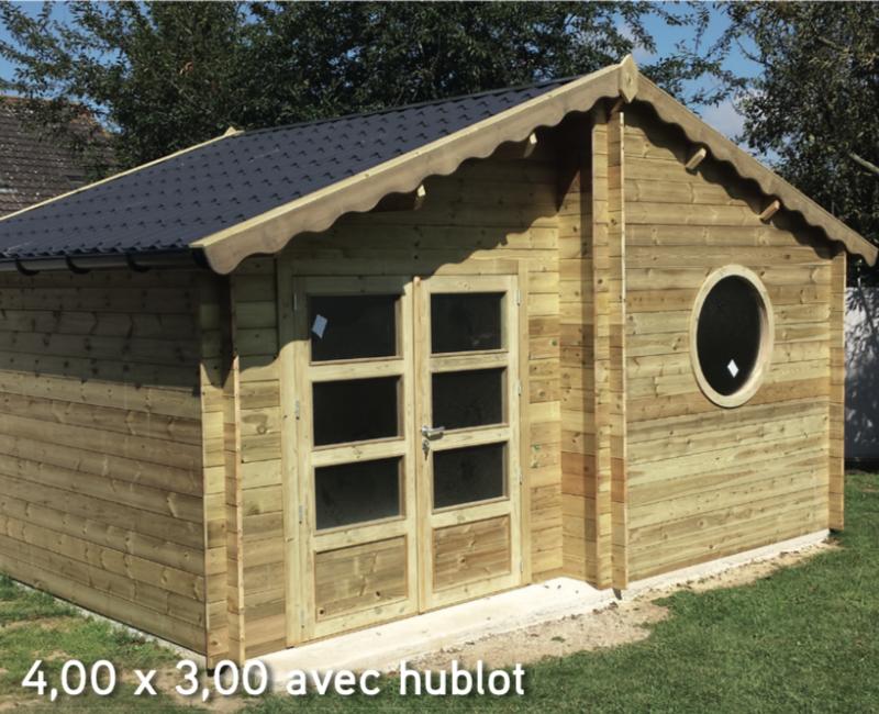Isola 4,00 x 3,00 avec hublot abri de jardin en bois