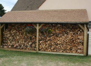 Abri bûches en bois 1,20M X 6,00M
