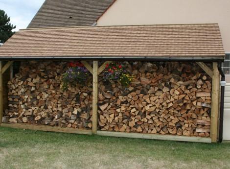 Abri bûches en bois 1,20M X 6,00M 1