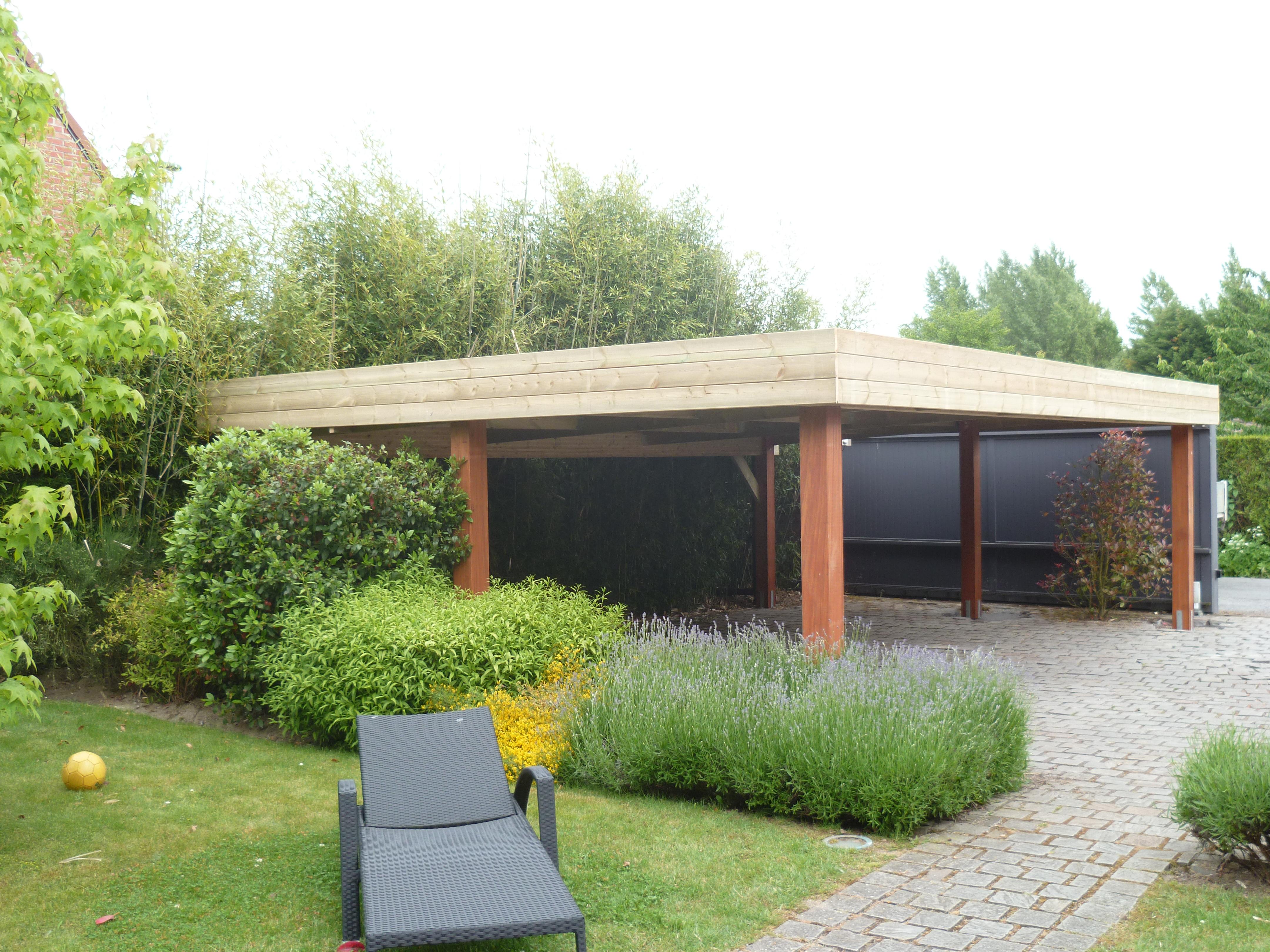 Construire Abris Bois carport abri voiture toit plat 6,00 m x 6,00 m