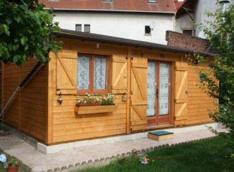 Chalet en bois 1 pente SAINT FARGEAU 6,50M X 4,00M avec gouttières + terrasse 1