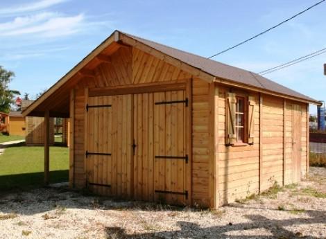 Garage bois BRETAGNE 3,50 M X 5,50 M + bûcher 1