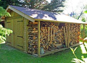 Garage bois BRETAGNE 3,50 M X 5,70 M + bûcher