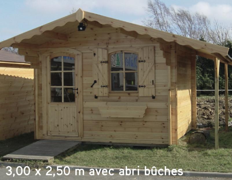 Avoriaz 3,00 x 2,50 m avec abri bûches abri de jardin en bois