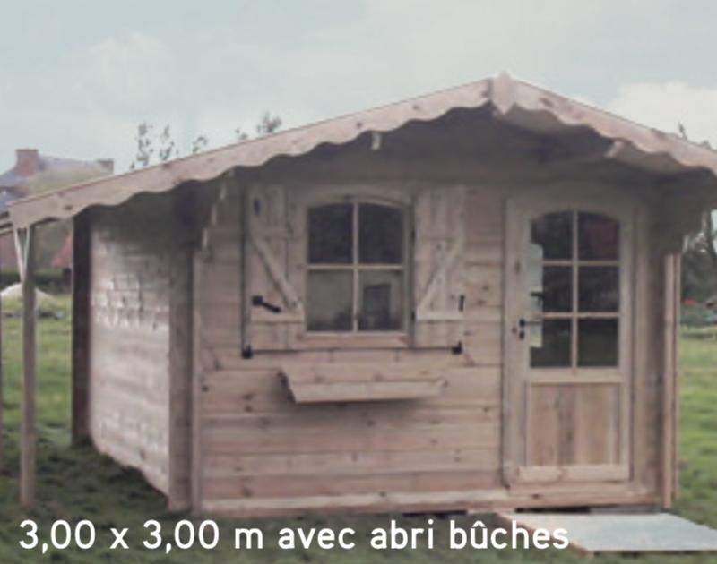 Avoriaz 3,00 x 3,00 m avec abri bûches abri de jardin en bois