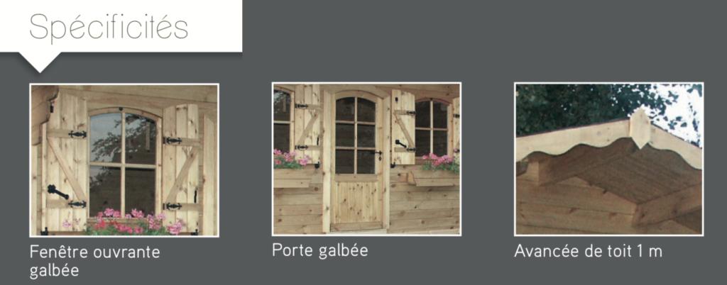 Avoriaz Spécificités Fenêtre ouvrante galbée Porte galbée Avancée de toit 1 m abri de jardin en bois