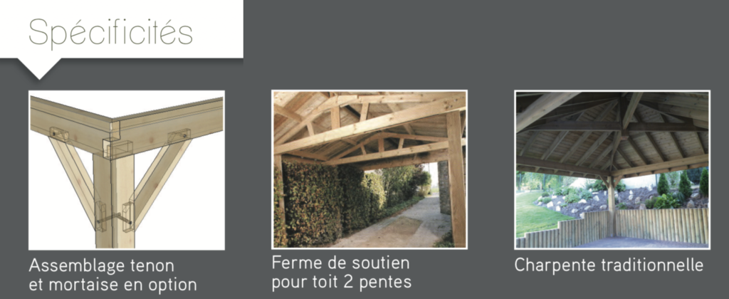 Carport Spécificités Assemblage tenon Ferme de soutien pour toit 2 pentes Charpente traditionnelle