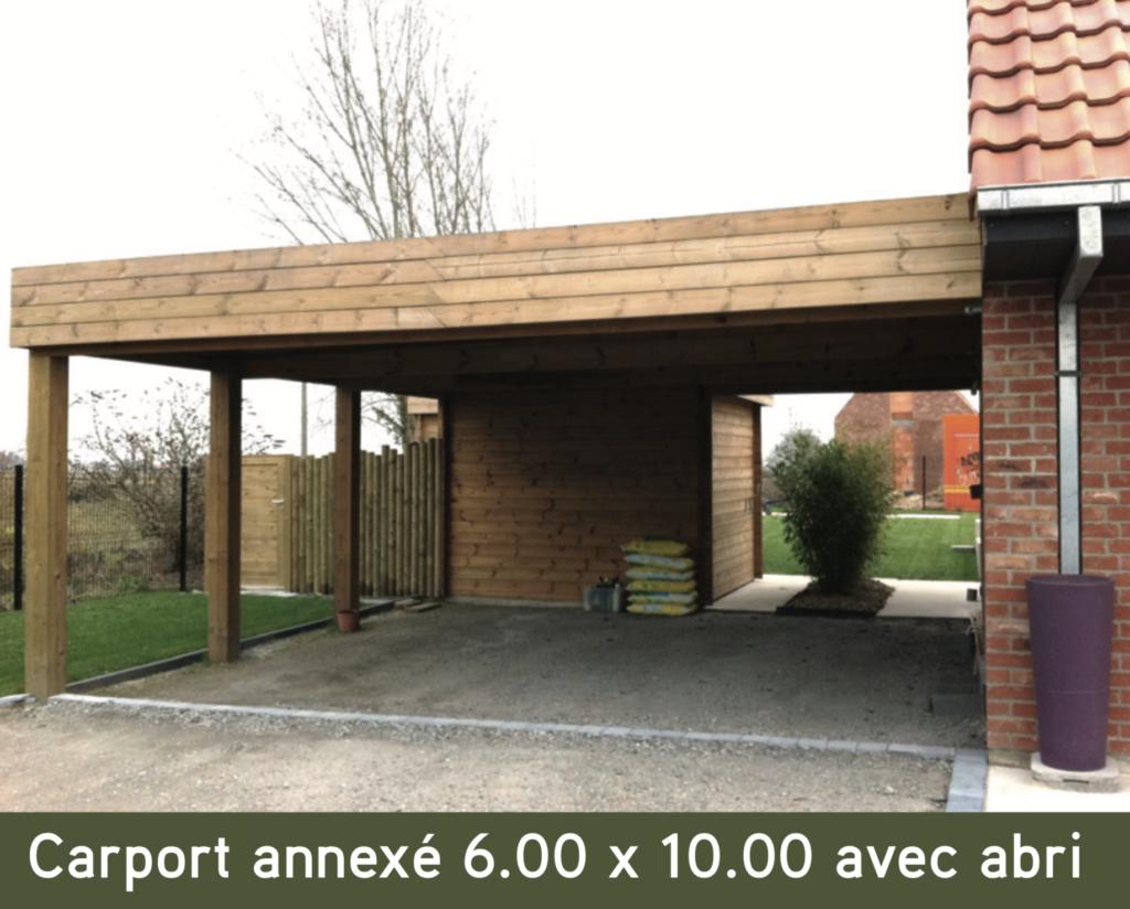 Carport bois Carport annexé 6.00 x 10.00 avec abri