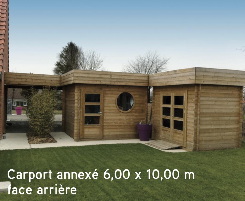 Carport bois Carport annexé 6,00 x 10,00 m face arrière