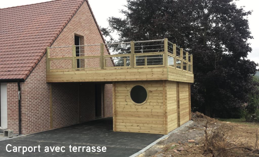 Carport bois Carport avec terrasse