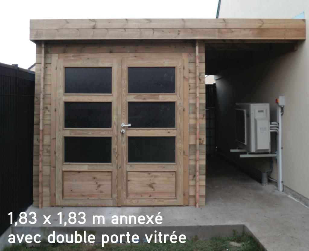 contemporain 1,83 x 1,83 m annexé avec double porte vitrée