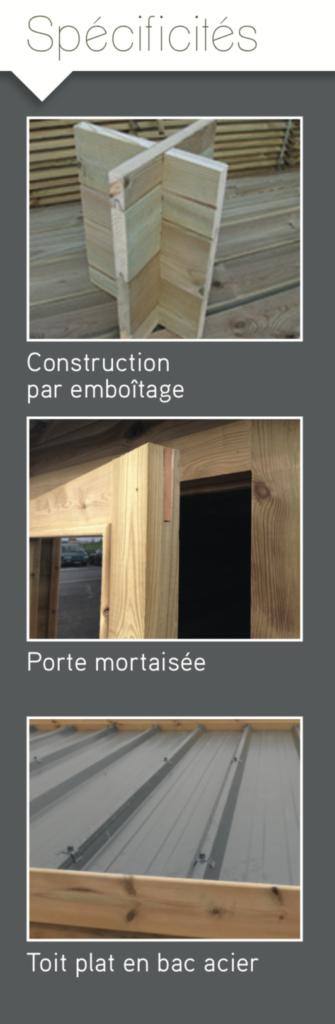 contemporain Construction par emboitage Porte mortaisée Toit plat en bac acier
