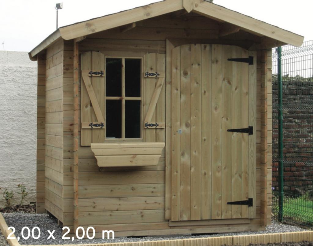 megève 2,00 x 2,00 m abri de jardin en bois