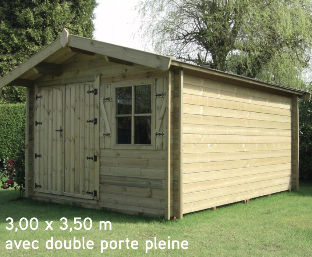 megève 3,00 x 3,50 m avec double porte pleine abri de jardin en bois