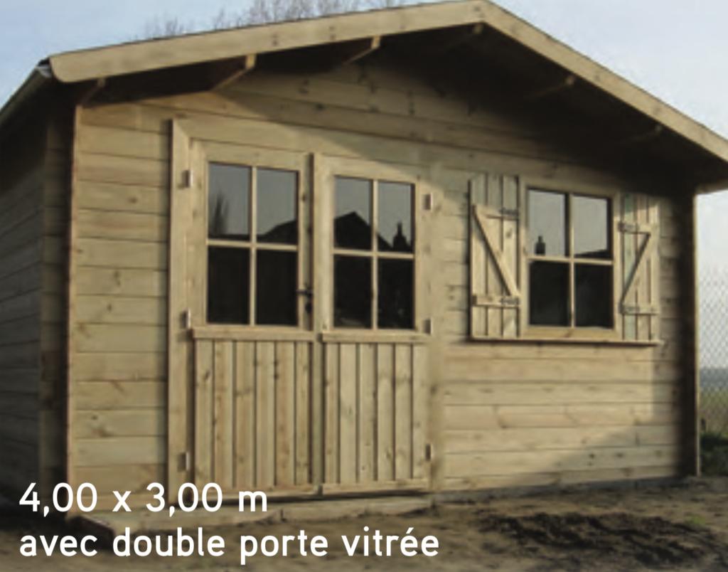 megève 4,00 x 3,00 m abri de jardin en bois avec double porte vitrée
