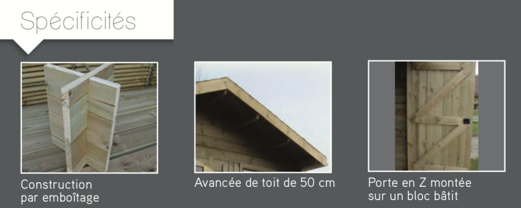 megève Spécificités Construction par emboîtage Avancée de toit de 50 cm Porte en Z montée sur un bloc bâtit abri de jardin en bois